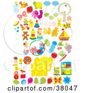 Clipart Illustration Of Animals Nature Food And Toys by Alex Bannykh
