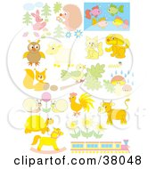 Clipart Illustration Of Pastel Animals Flowers And A Train by Alex Bannykh