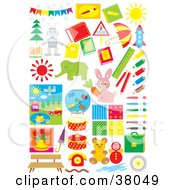 Clipart Illustration Of Toys Trees Arts And Animals