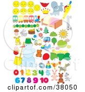 Clipart Illustration Of Faces Trains Bugs Animals Snowmen And Numbers by Alex Bannykh