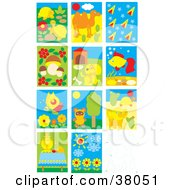 Clipart Illustration Of Turtle Camel Mushroom Dog Fish Butterfly Bear Elephant Tea And Flower Scenes