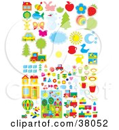 Clipart Illustration Of A Set Of Architecture Transportation Nature And Animals
