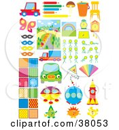 Clipart Illustration Of Transportation Art Food Furniture Backgrounds And Science Fiction by Alex Bannykh