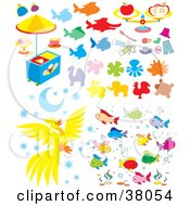 Clipart Illustration Of Animals Food Clothes And Fish by Alex Bannykh