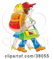 Clipart Illustration Of A Traveling Couple Carrying Luggage