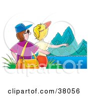 Clipart Illustration Of A Tourist Couple Admiring Steep Mountains