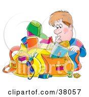 Clipart Illustration Of A Male Traveler Searching Through His Messy Bag by Alex Bannykh