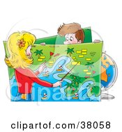 Clipart Illustration Of A Man Holding Up A Map While His Travel Agent Or Wife Plans A Vacation by Alex Bannykh