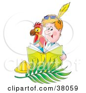 Clipart Illustration Of A Man And Parrot Writing In A Journal by Alex Bannykh