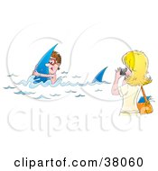 Clipart Illustration Of A Woman Taking Pictures Of Her Husband As He Swims With Sharks by Alex Bannykh