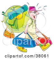 Clipart Illustration Of A Sweaty Male Tourist Carrying Luggage