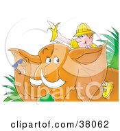 Clipart Illustration Of A Happy Male Traveler Holding Up A Banana And Riding Through The Jungle On An Elephant by Alex Bannykh