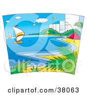 Clipart Illustration Of Sailboats And The Beach Near Hotels by Alex Bannykh