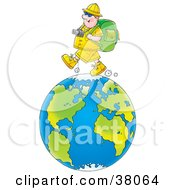 Clipart Illustration Of A Happy Male Tourist Trekking On The Globe by Alex Bannykh