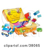 Clipart Illustration Of Clutter Around An Open Suitcase