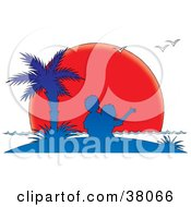Clipart Illustration Of A Couple Under A Palm Tree Silhouetted In Blue Against A Red Sunset Sun