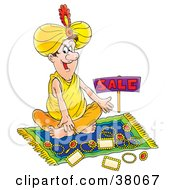 Clipart Illustration Of An Arabian Vendor Seated On A Rug With Jewelry by Alex Bannykh