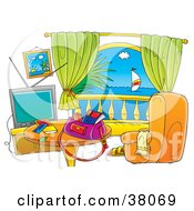 Clipart Illustration Of A Hotel Room With A Balcony View Of The Sea by Alex Bannykh