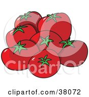 Clipart Illustration Of Plump Red And Organic Tomatoes by Maria Bell