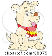Clipart Illustration Of A Beige Dog In A Scarf