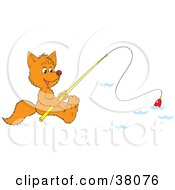 Clipart Illustration Of A Fox Fishing On A Lake by Alex Bannykh