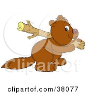Brown Beaver Carrying A Log Over His Shoulder On A White Background