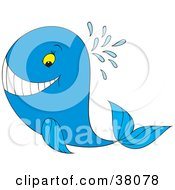 Clipart Illustration Of A Grinning Blue Whale Spouting Water