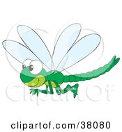 Clipart Illustration Of A Happy Green Dragonfly