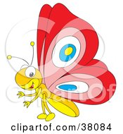 Clipart Illustration Of A Yellow Butterfly With Red Wings by Alex Bannykh