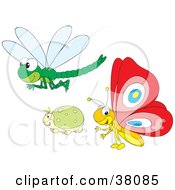 Clipart Illustration Of A Dragonfly Beetle And Butterfly by Alex Bannykh