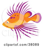 Clipart Illustration Of A Purple And Orange Spiked Fish