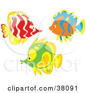 Clipart Illustration Of A Group Of Red Orange And Green Fish