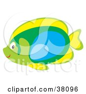 Clipart Illustration Of A Yellow Green And Blue Saltwater Fish