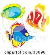 Clipart Illustration Of A Group Of Green Blue And Red Fish