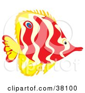 Clipart Illustration Of A Wavy Patterned Red And Yellow Fish