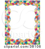 Floral Border Or Frame Around A White Background