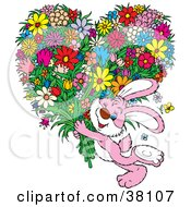 Clipart Illustration Of A Pink Rabbit Winking And Carrying An Oversized Heart Shaped Floral Bouquet