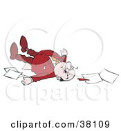 Clipart Illustration Of A Businessman Collapsed With Paperwork On The Floor
