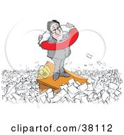 Clipart Illustration Of A Man Preparing To Drown In Paperwork Standing On His Desk With A Life Buoy