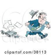 Clipart Illustration Of A Very Late Businessman Dropping His Briefcase