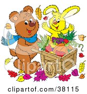 Clipart Illustration Of A Brown Bear And Yellow Rabbit Pushing A Wheelbarrow Of Autumn Veggies