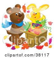 Clipart Illustration Of A Happy Rabbit And Bear Pushing A Wheelbarrow Of Harvested Veggies by Alex Bannykh