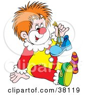 Clipart Illustration Of A Young Clown Holding A Shoe