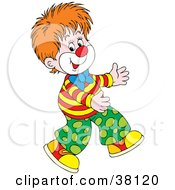Clipart Illustration Of A Young Clown Walking by Alex Bannykh