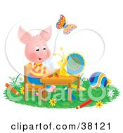 Clipart Illustration Of A Butterfly Watching A Snail Chat With A Pig At A Table Surrounded By Toys And Colored Pencils by Alex Bannykh