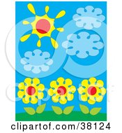 Clipart Illustration Of Three Yellow Daisies Under Clouds And The Sun