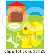 Clipart Illustration Of A Yellow Dog With A Bone In Front Of A Dog House