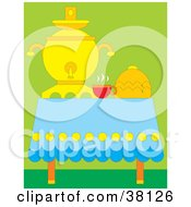 Clipart Illustration Of A Cup Of Hot Tea By A Dispenser On A Table Over Green