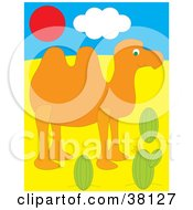 Clipart Illustration Of A Camel Near Cactus Under A Red Sun by Alex Bannykh