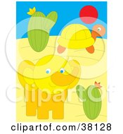 Clipart Illustration Of A Turtle And Elephant In A Desert by Alex Bannykh